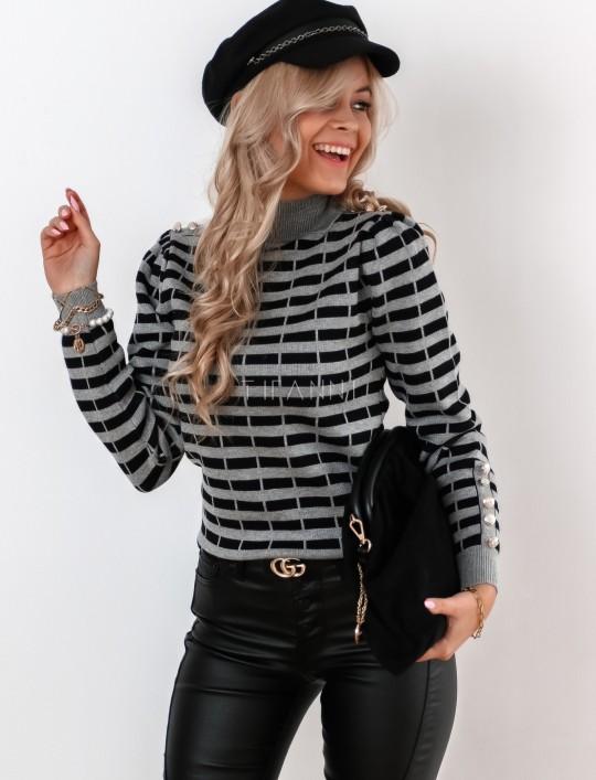 Sweter Silla w szaro-czarne paski