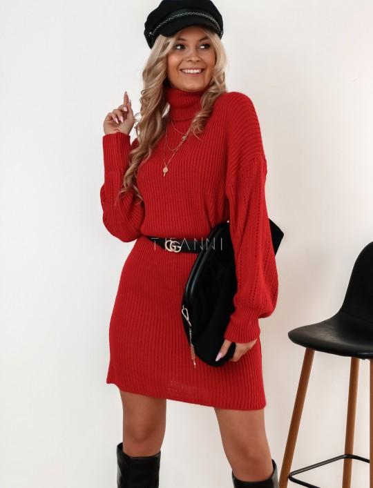 Sukienka z golfem Blanca czarwona