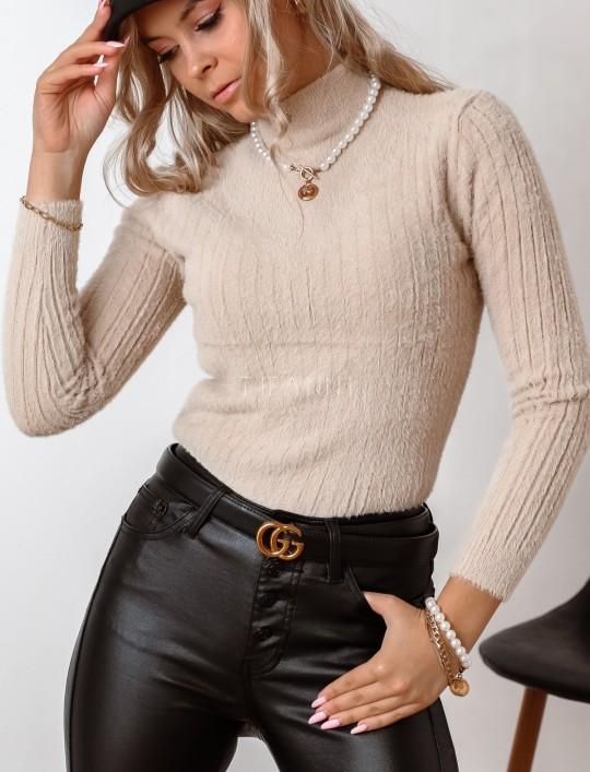 Sweter golf prążkowany beżowy