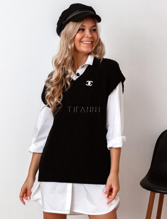 Kamizelka swetrowa Felia czarna