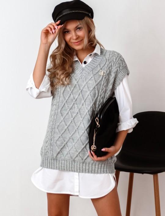 Kamizelka swetrowa Felia szara