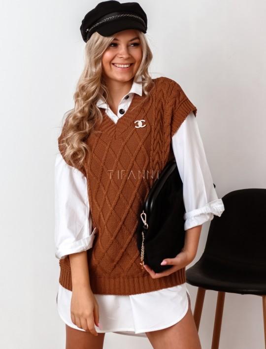 Kamizelka swetrowa Felia karmelowa