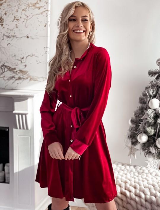 Aksamitna sukienka Stella bordowa