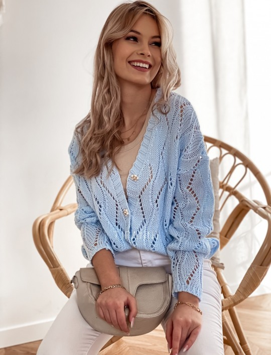 Sweter Pami rozpinany błękitny