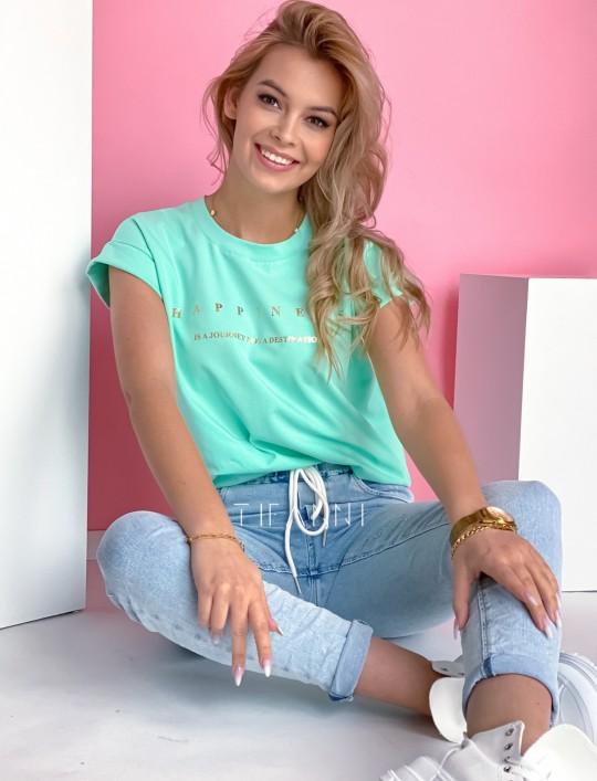T-shirt happiness miętowy