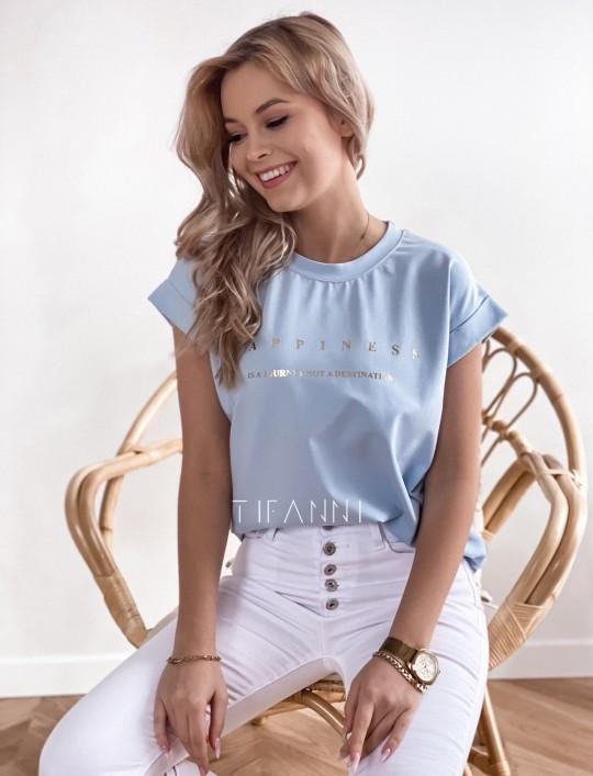 T-shirt happiness błękitny