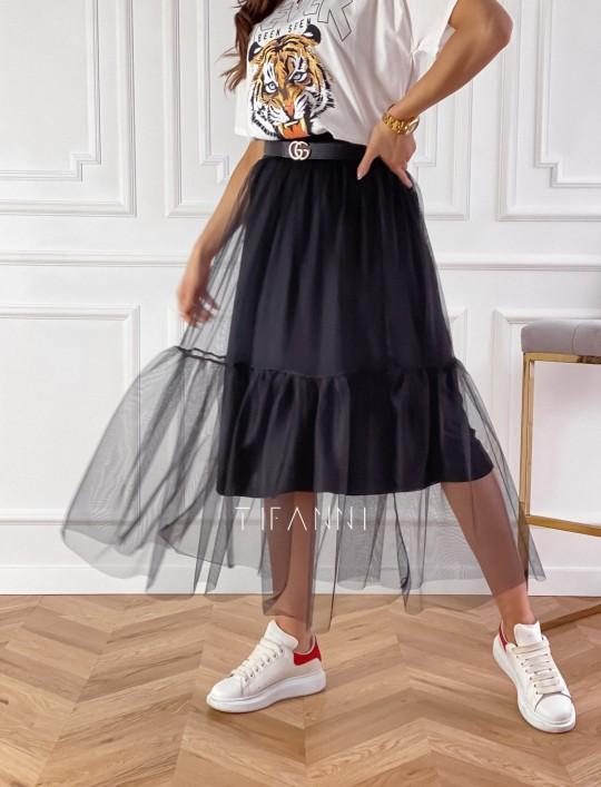 Spódnica Panti czarna odcinana