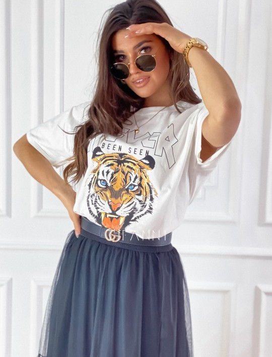 T-shirt Never śmietankowy