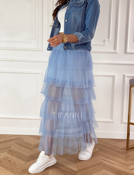 Spódnica z falbankami Carmen błękitna