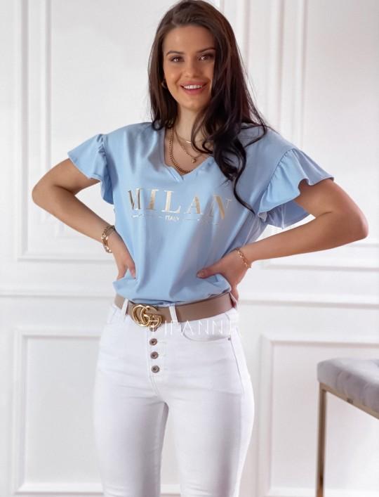 T-shirt z falbanką na rękawie Milan blue