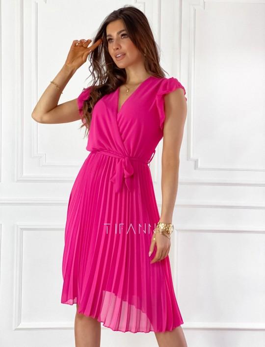 Zwiewna plisowana sukienka w kolorze fuksji