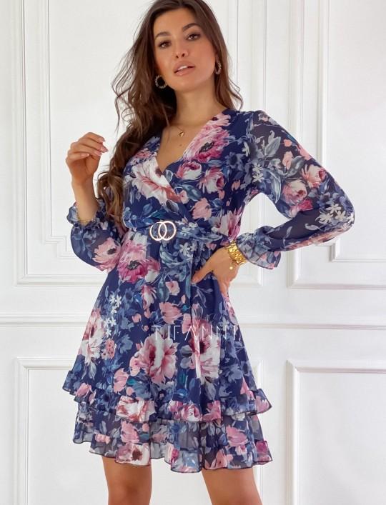 Szyfonowa kwiecista sukienka w kolorze granatowym
