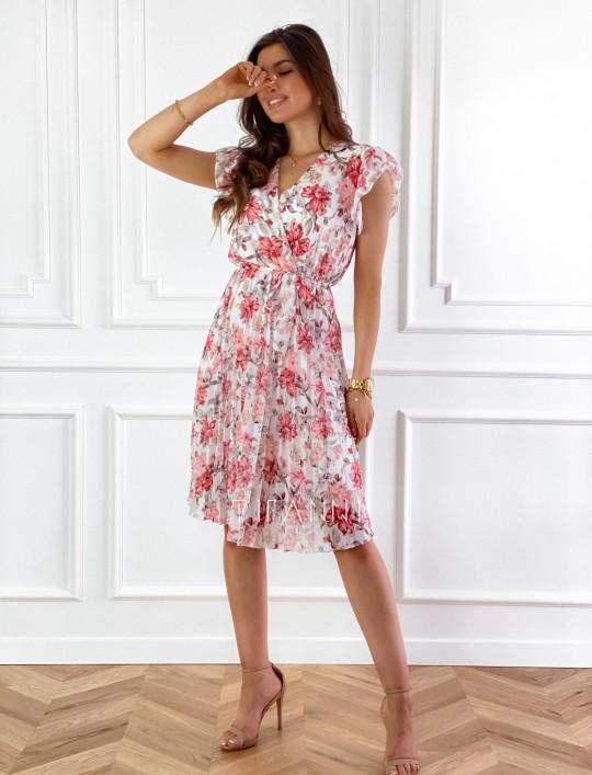 Plisowana kwiatowa sukienka Auris