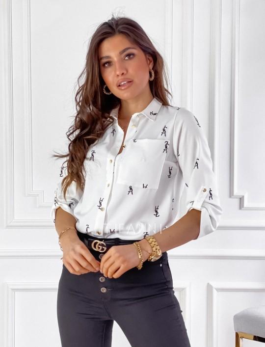 Koszula Pampi śmietankowa z czarnym printem
