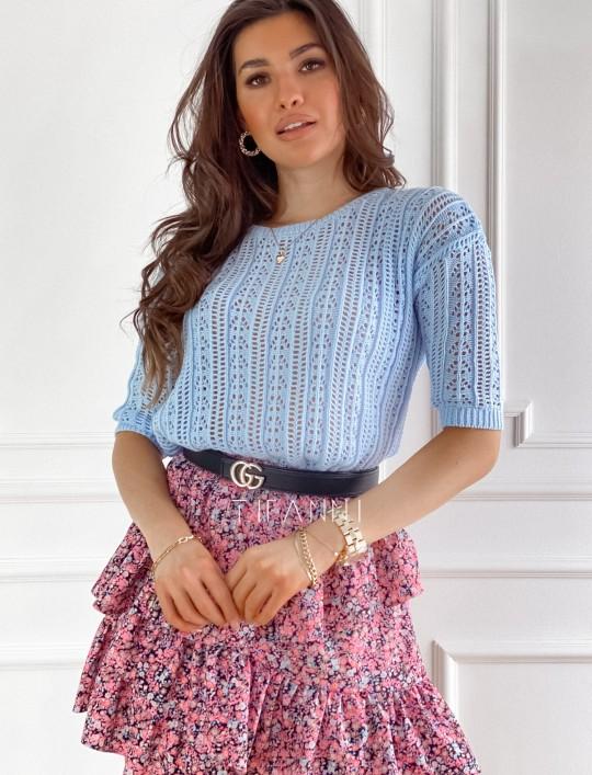 Ażurkowa bluzka sweterkowa Donni błękitna