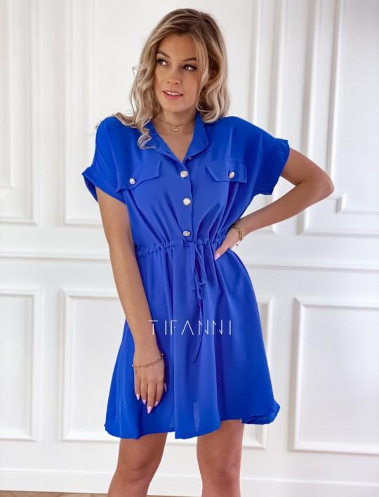 Sukienka z kołnierzykiem Sandi kobaltowa