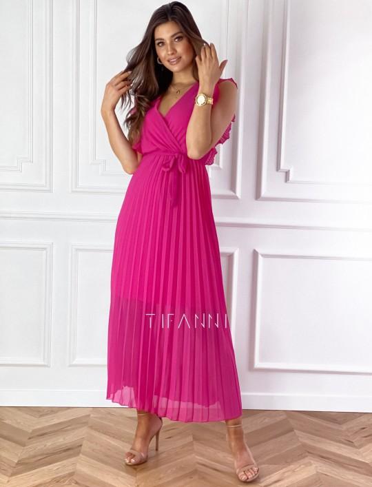 Długa plisowana sukienka Debra fuksja