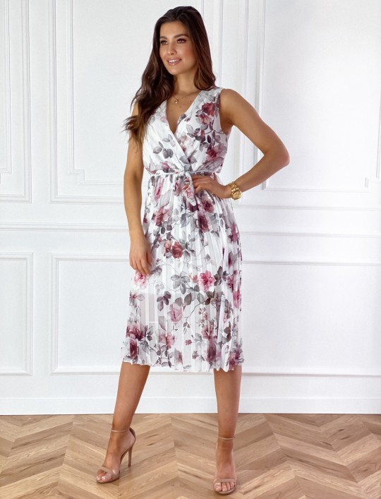 Sukienka w kwiatki wiązana Brera śmietankowa