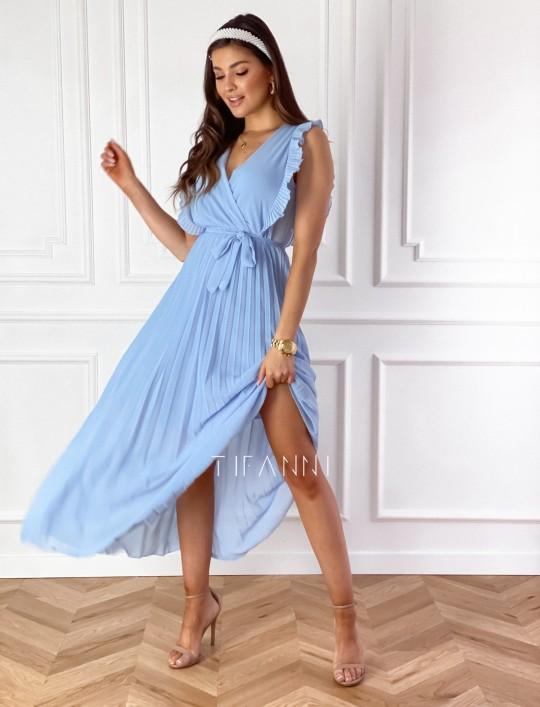 Długa plisowana sukienka Debra błękitna
