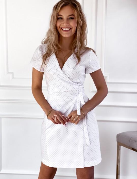 Elegancka sukienka Alexia śmietankowa w groszki
