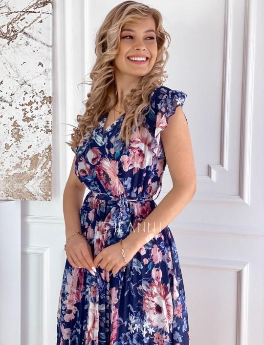 Plisowana kwiatowa sukienka Valeria granatowa