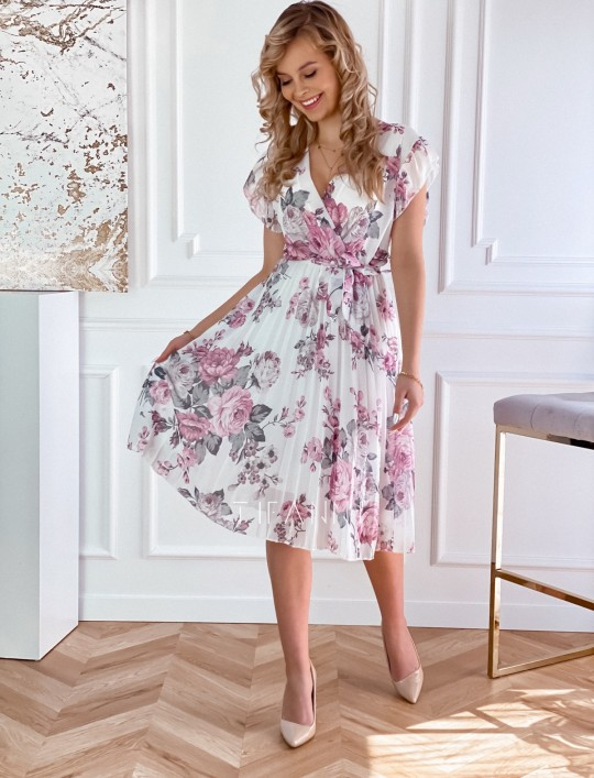 Plisowana kwiatowa sukienka Valeria śmietankowa