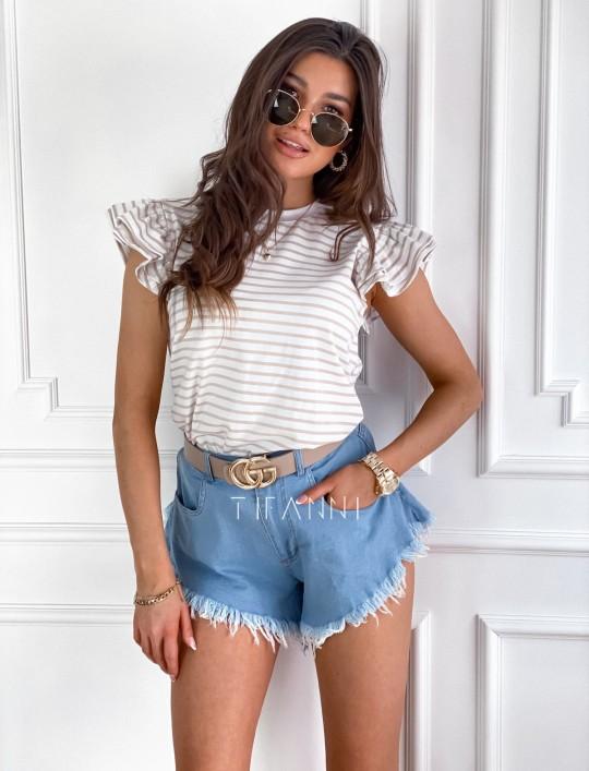 T-shirt Margot strips baige