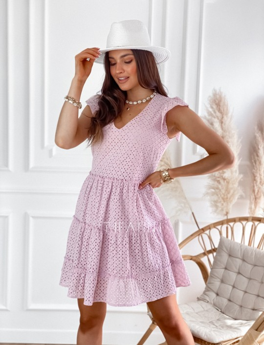 Ażurowa sukienka Casandra pudrowa