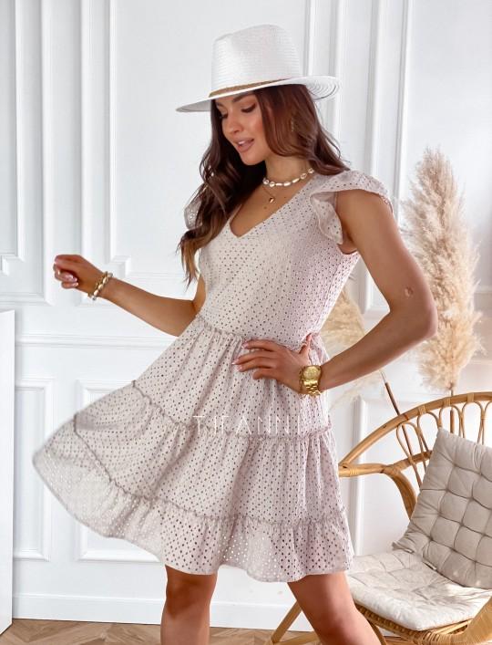 Ażurowa sukienka Casandra beżowa