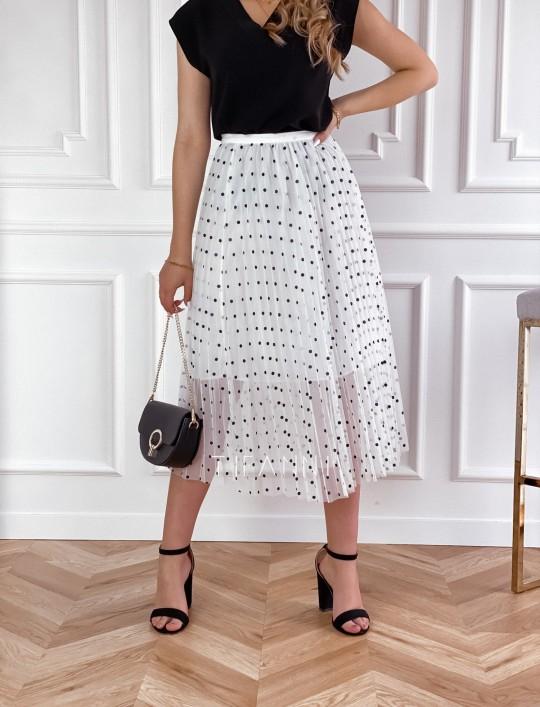 Spódnica Sisi biała w groszki