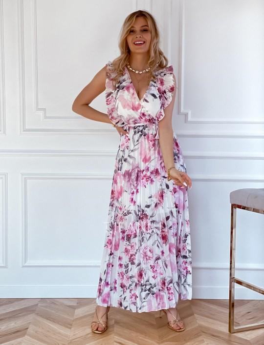 Długa plisowana sukienka Debra kwiatki