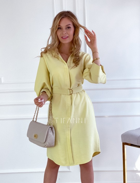 Sukienka z paskiem Brilante bananowa