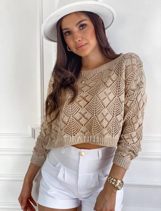 Złoty ażurkowy sweter Tiara