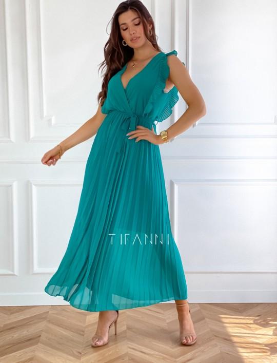 Długa plisowana sukienka Debra butelkowa