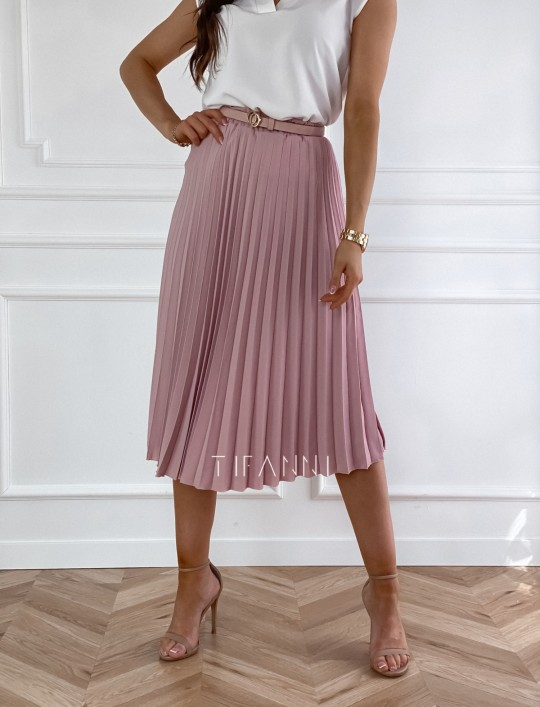 Plisowana elegancka spódnica Casi pudrowa