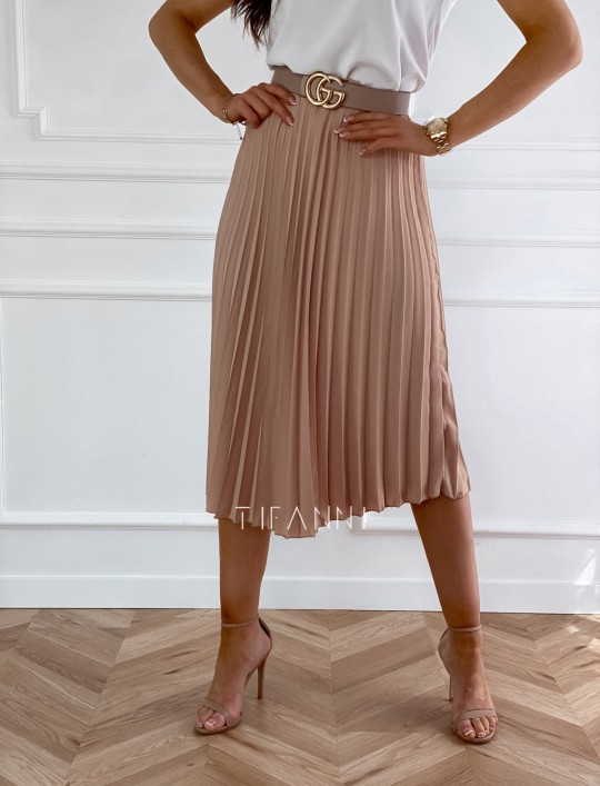 Plisowana elegancka spódnica Casi karmelowa