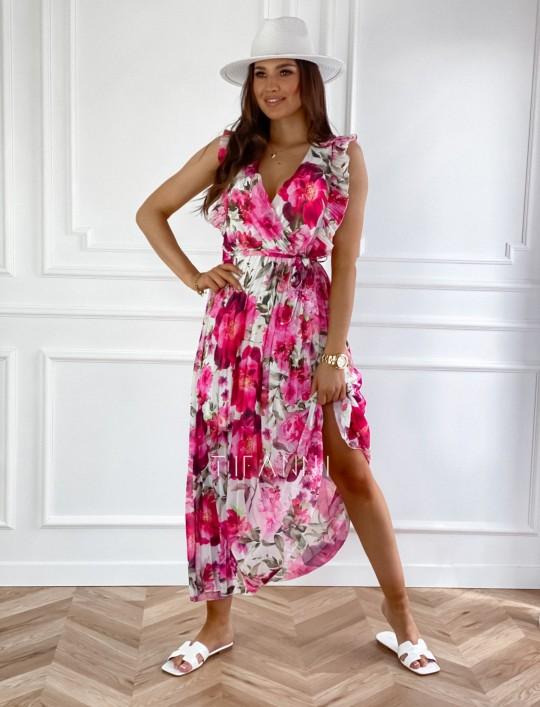 Długa plisowana sukienka Debra w różowe kwiatki