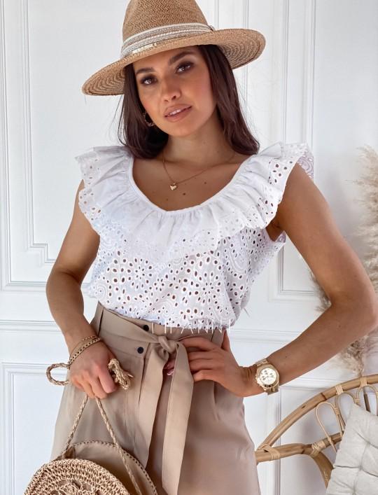 Bluzka ażurowa Sara biała