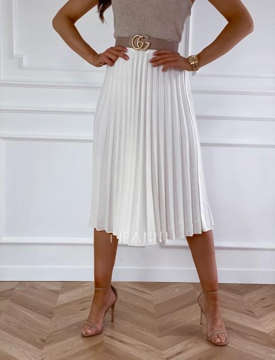 Plisowana elegancka spódnica Casi śmietankowa