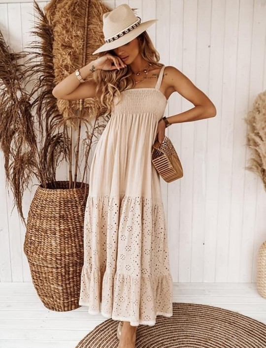Bawełniana sukienka maxi Dina beżowa