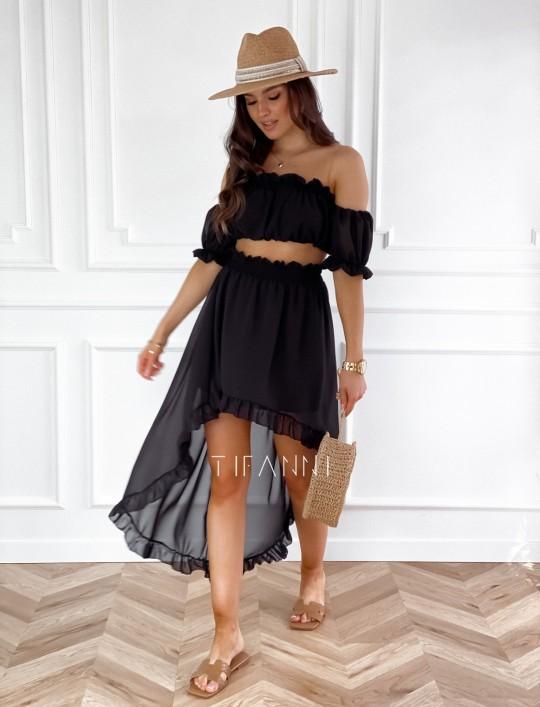 Komplet bluzka spódnica Flavi czarna