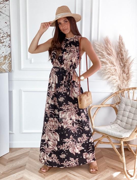 Sukienka maxi Carlo czarna w kwiatki