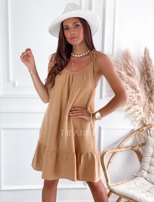 Letnia zwiewna sukienka Westi beżowa