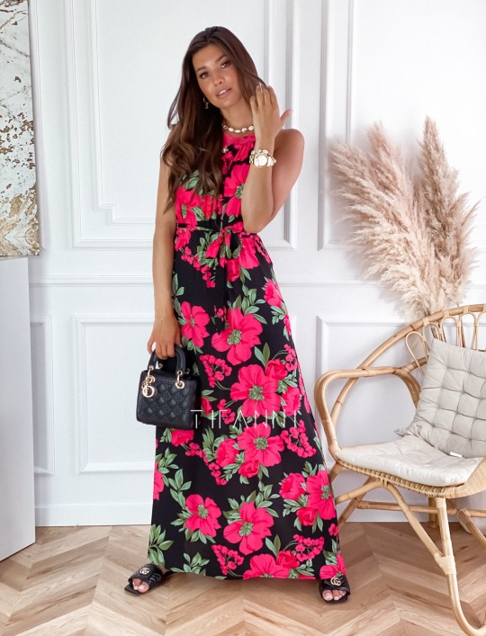 Sukienka maxi Carlo pink flowers