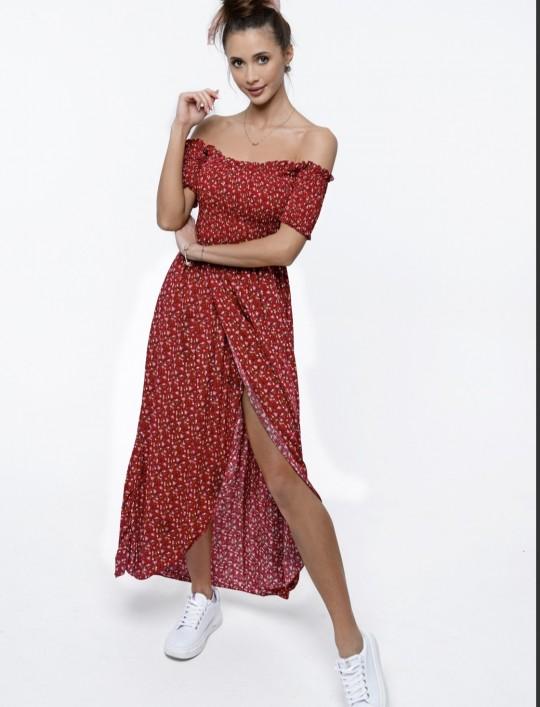 Sukienka hiszpanka Flora łączka bordowa