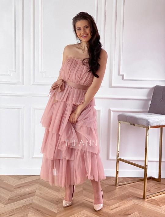 Sukienka z falbankami Giovani brudny róż