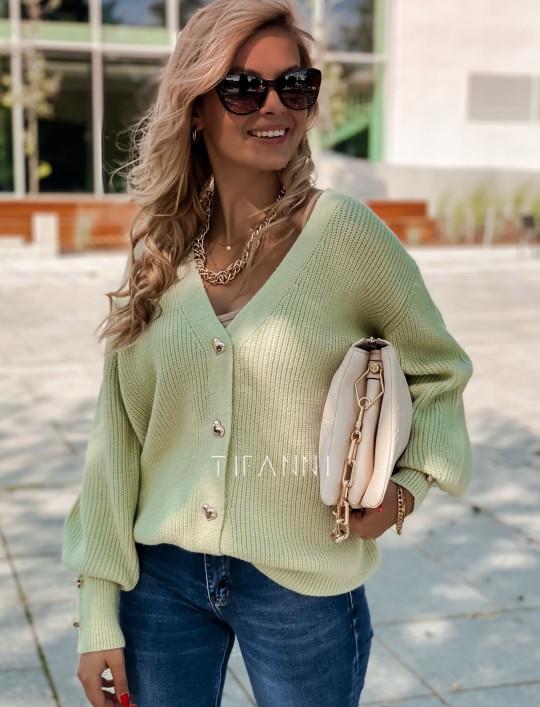 Rozpinany sweter Loret pistacjowy