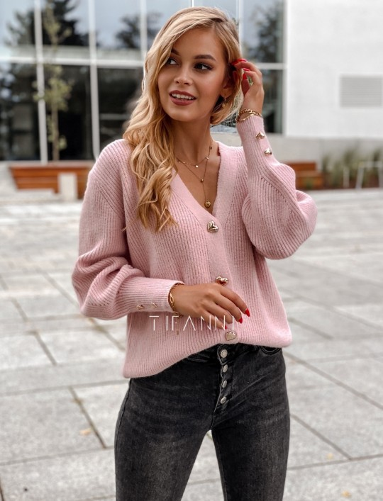 Rozpinany sweter Loret pudrowy