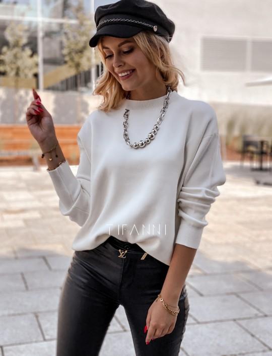 Bluzka sweter z łańcuszkiem Marco ecru