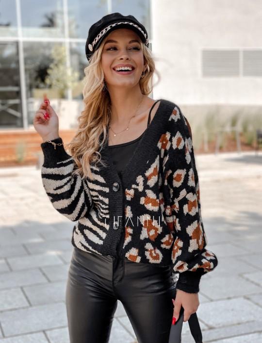 Sweter Angie rozpinany czarny